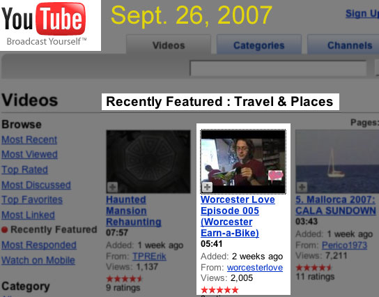 recently featured on youtube.com 9/26/07