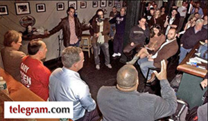 Worcester telegram photo of mayoral debate at the dive bar