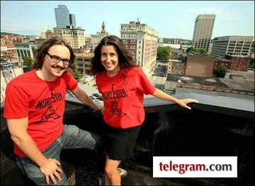 kaz and andrea on the roof of the printers building in downtown Worcester