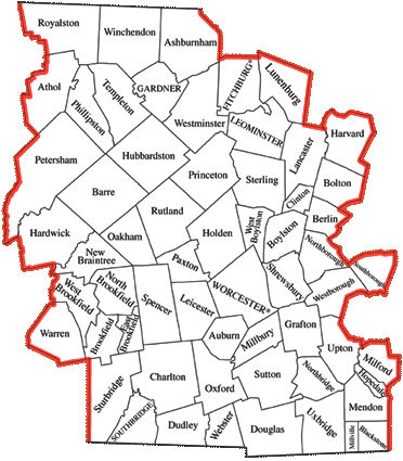 Worcester County Map (Central Massachusetts)